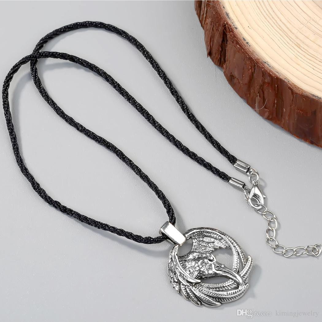 Vintage Norse Animal Raven Necklace Odin's Viking Pendants Necklaces Crow Runes for Unisex Amulets jewelry