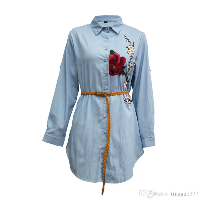 83dd401bb46 2019 Plus Size Women Shirts Long Sleeve Flower Embroidered Button Down  Boyfriend Shirt Dress Irregular Blue Blouse Tops 3xl 4xl 5xl From  Tinaguo977