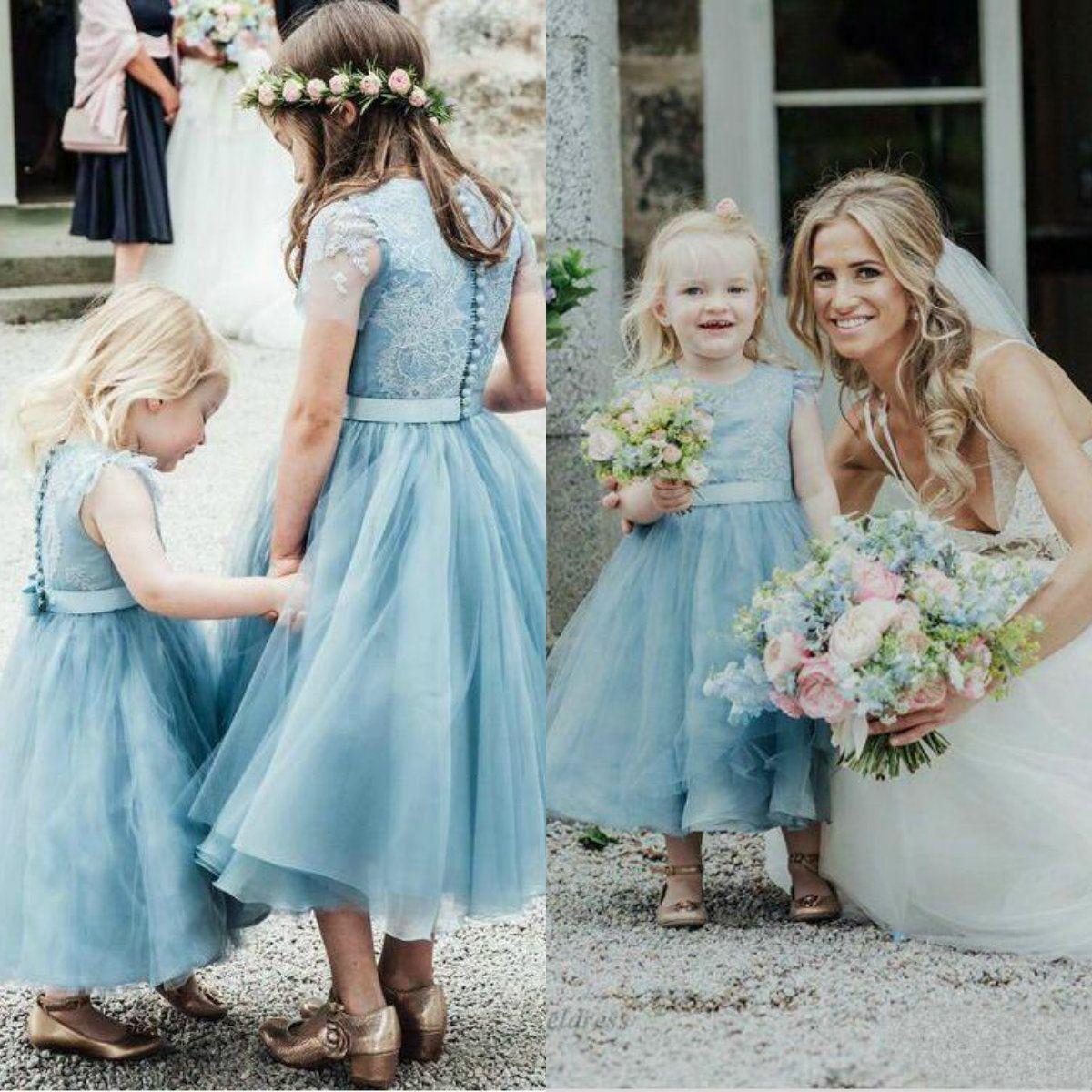 f03c2ed8284 Dusty Blue Flower Girl Dresses For Weddings Lace Cap Sleeves Tea Length  Buttons Back Tulle Girls First Communion Dress Flowergirl Dress Flowers  Girl Dresses ...
