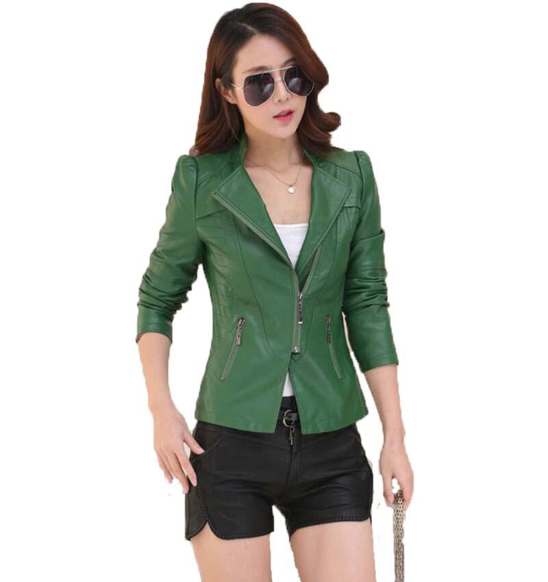 033442b63db 2019 Plus Size Ladies Leather Jacket 2017 New Leather Coat Women Short Slim Motorcycle  Clothing Female Outerwear Black From Caeley
