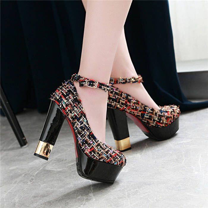 e0b1b66f1d6 Fashion Compound Fabric Woman Dress Shoes 12.5cm High Chunky Square ...