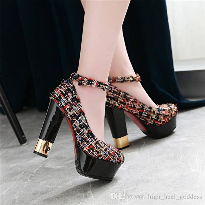 cf03369b Compre Zapatos De Vestir De Mujer De Tela Compuesta De Moda Zapatos De  Plataforma De Tacón Alto De 12.5 Cm De Altura Bombas De Correa De Tobillo  De Dama De ...