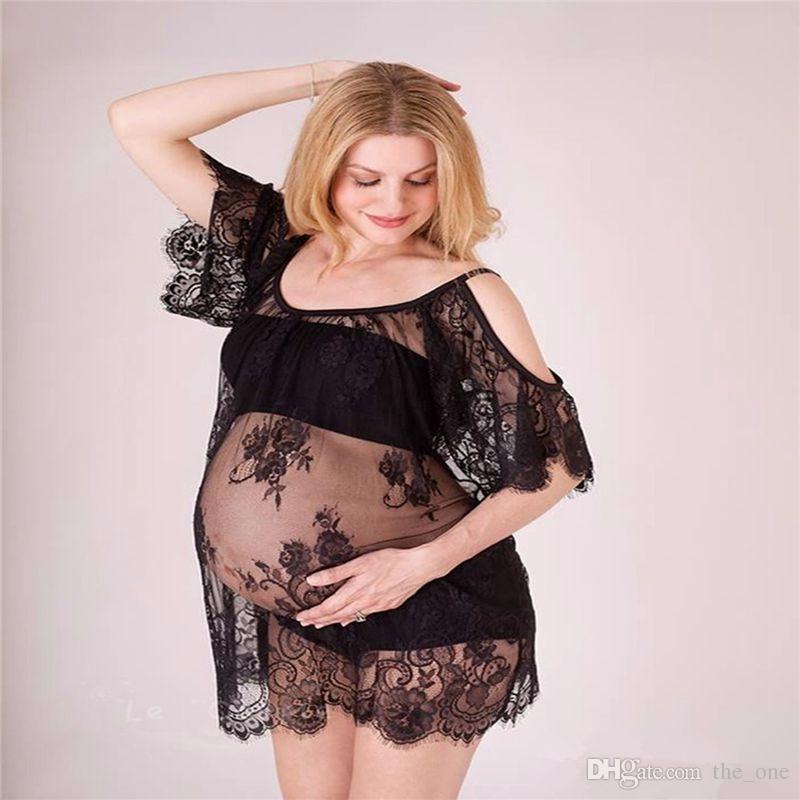 8ca820c894 Compre Vestidos De Maternidad De Encaje Para Sesión De Fotos Vestidos De Embarazada  Sexy Vestido De Maternidad De Hombros Vestido De Embarazo Accesorios De ...