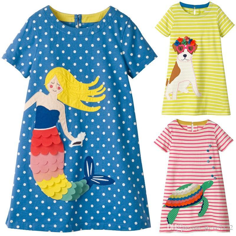 73b509922d2bb Acheter Blue Dot Bébé Filles Robes Appliques Sirène Vêtements Pour Enfants  Blouse Pulls Pour Fille Vêtements Enfant En Basique Une Robe 100 140 Top De  ...