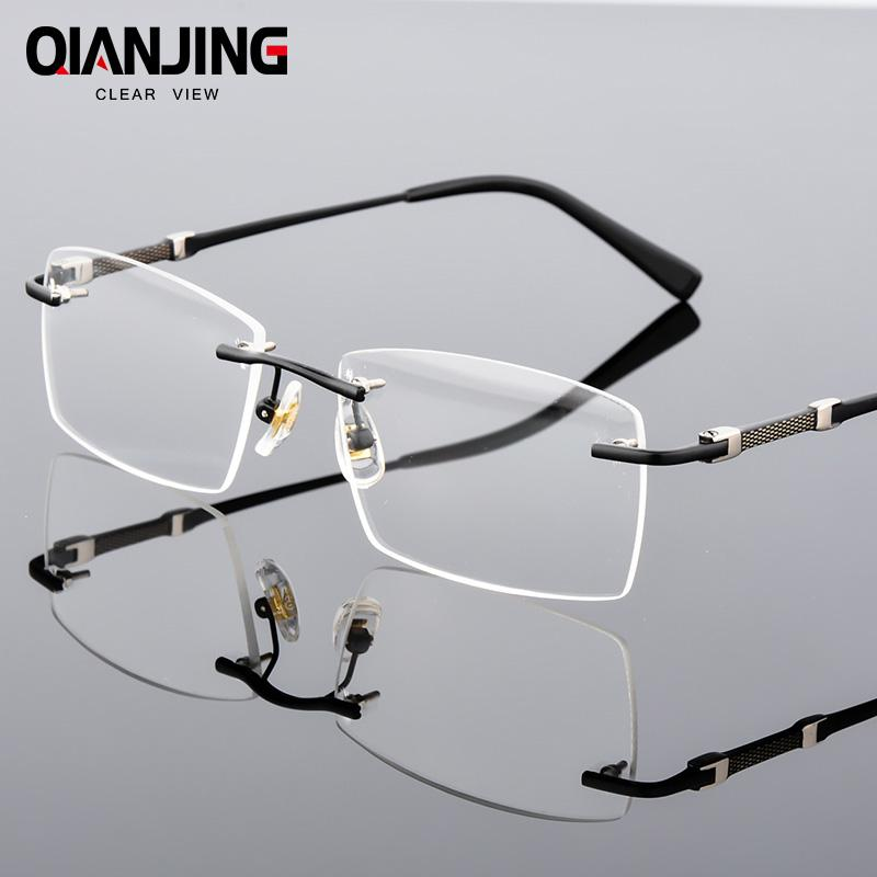 1cf2d2a3cc 2019 QianJing Rimless Gray Mens Glasses Frame Spectacles For Man Prescription  Optical Lens Frameless Eyeglass Can Mount Lens You Need From Shuidianba