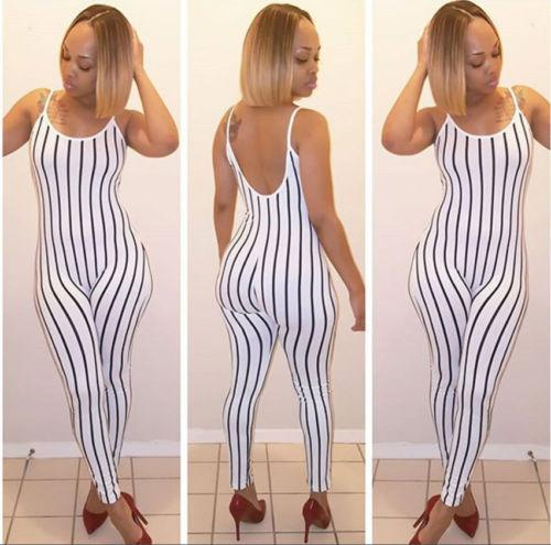 b26159b6a7f2 2019 Daily Female Womens Jumpsuits Rompers Clothing Sexy Lady Sleeveless  Long Romper Jumpsuit Bodysuit Stretch Leotard Top Striped From Benedica