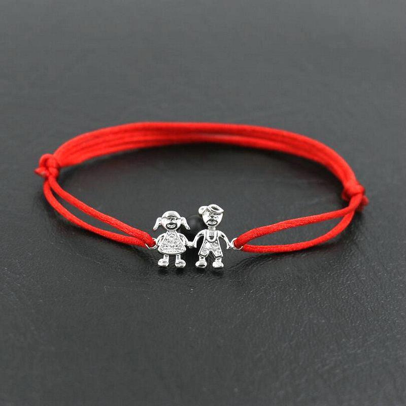 428ac41098d1 Dulce Familia Linda Niños Y Niñas Trenza Cuerda de Color Plata Pulsera de  Cuerda Roja Cuerda de Hilo Pulseras Para Amistad Regalo