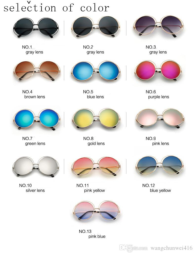 Boy Yuvarlak Güneş Gözlüğü Moda Kadınlar Büyük Boy Büyük Retro Ayna Güneş Gözlükleri Lady Kadın Vintage Marka Tasarımcısı UV400