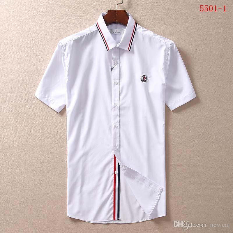 6d5dbc4199 Compre Camisas Casuais Camisa Cor Sólida Dos Homens Nova Marca De Moda De  Negócios Botão Para Baixo Camisas Dos Homens De Manga Curta Designer De  Luxo ...