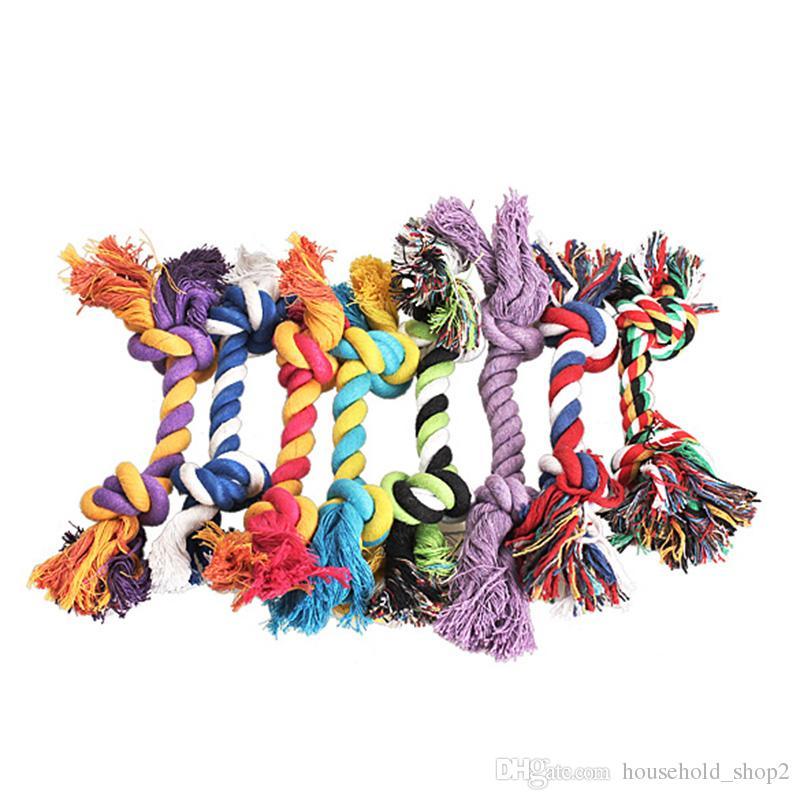 Animais de estimação cão algodão mastigas nó brinquedos coloridos duráveis trançados corda de ósseos 18 cm engraçado cachorro gato brinquedo