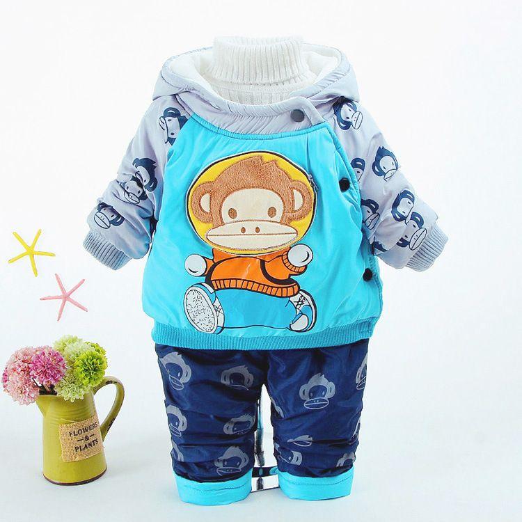 3eeca7088 2019 Baby Boy Clothes 2018 Winter Boys Cartoon Monkey Snap Fastener ...