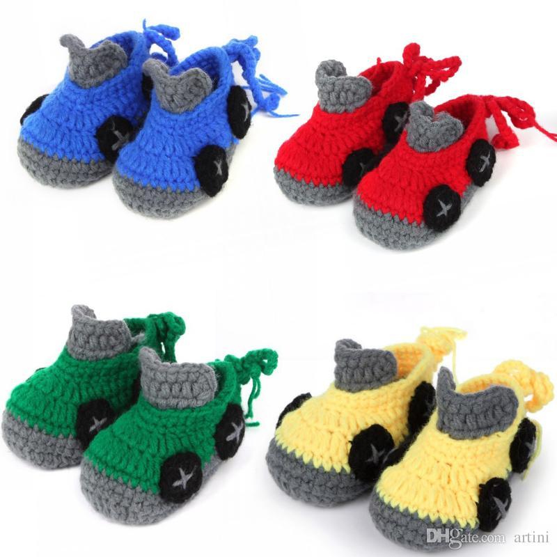 Großhandel Cartoon Car Baby Boy Schuhe Handarbeit Häkeln Booties