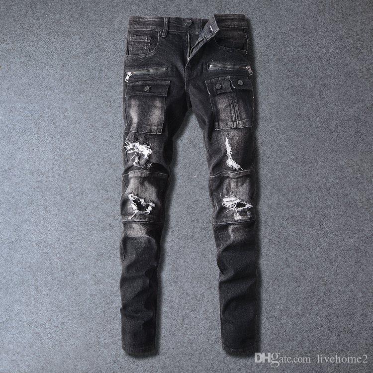 New Arrive Skinny Water wash Motorcycle mens jeans Desinger BM516-BM517 in single cow thickened Slim paris top quality plugs men's jeans