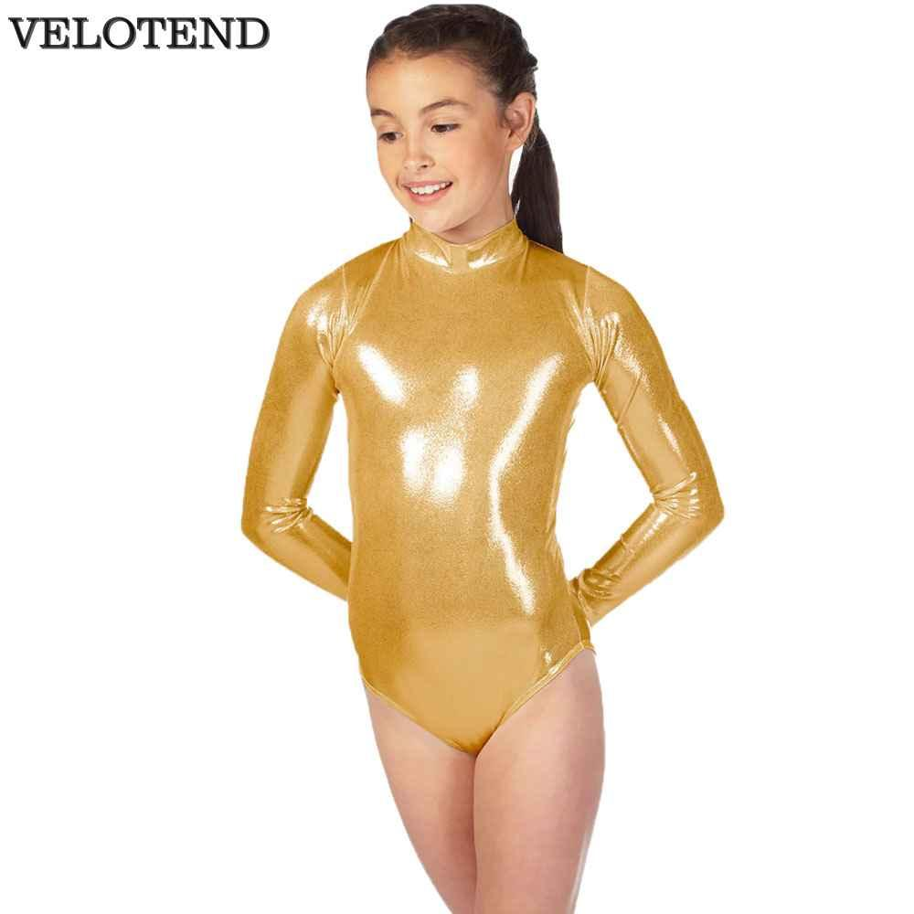 68417262e381 2019 Child Shiny Silver Long Sleeve Leotard For Girls Metallic Turtleneck  Gymnastics Leotards Lycra Spandex One Piece Leotard From Alberty, $22.02 |  DHgate.