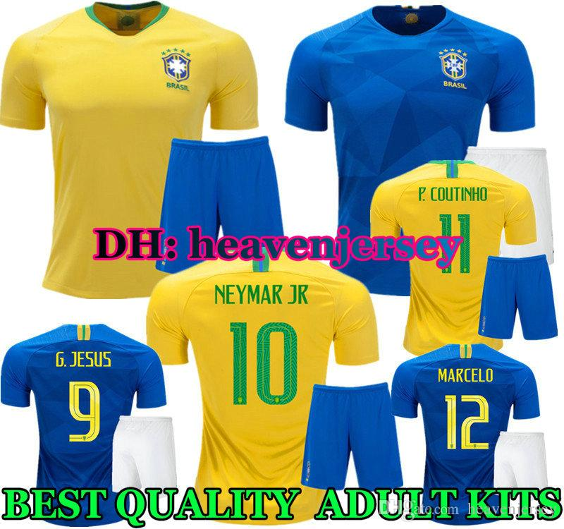 d16fd7dc0c5 ... neymar jr 2018 world cup brazil home yellow soccer jersey kits away  blue coutinho paulinho pele