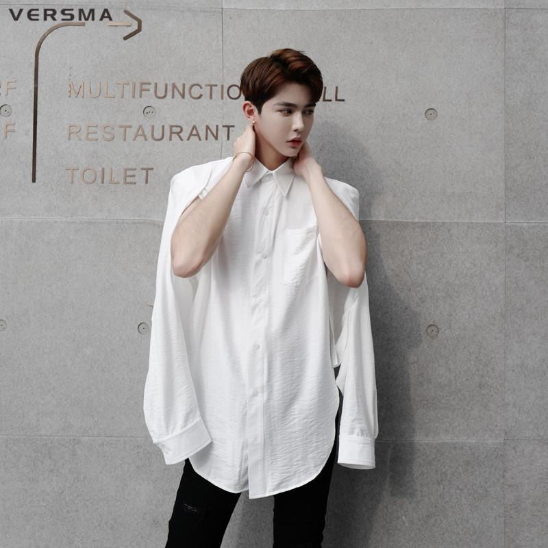 2019 VERSMA New Korean Harajuku Vintage Oversize Shirt Men Women Blouse Hip  Hop Black Casual Mens Long Sleeve Cotton Dress Shirt Male From Felix06 1ca147c969d6