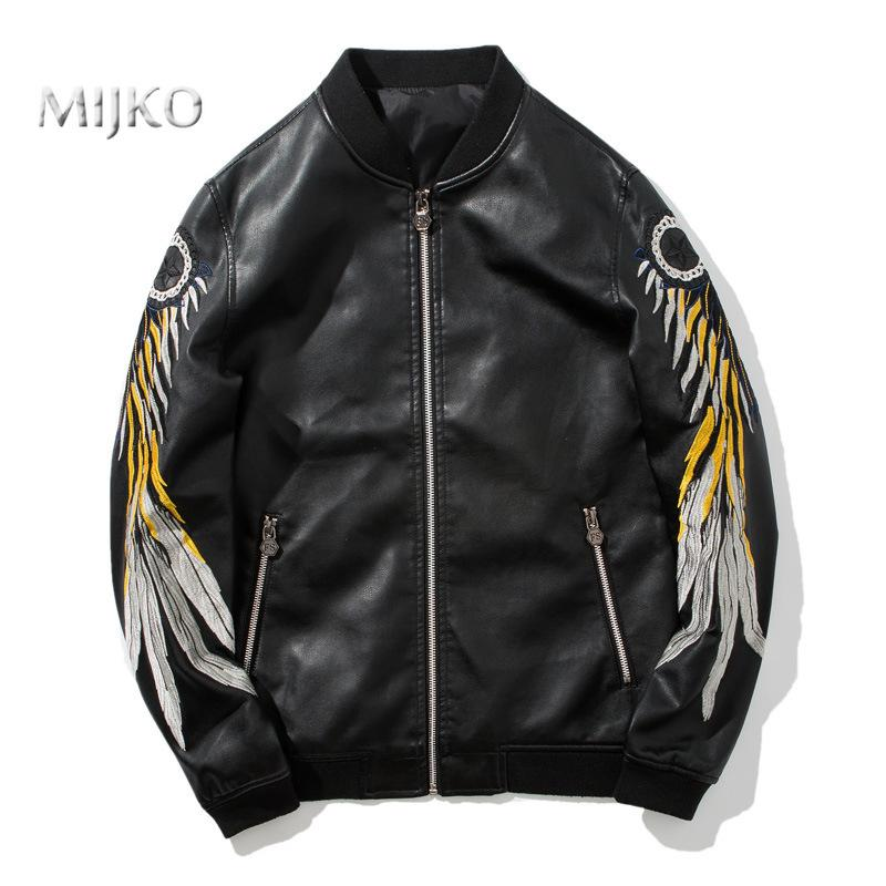 eac13615b MIJKO Mens Leather Jacket 2018 Autumn Motorcycle Jersey Faux Leather Jacket  Embroidered Men's Clothing Plus Size M-3XL