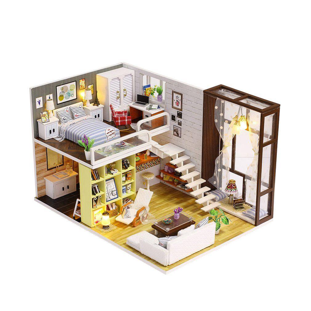Großhandel Einfache Stadt Zimmer Puppenhaus Miniatur Diy Puppenhaus