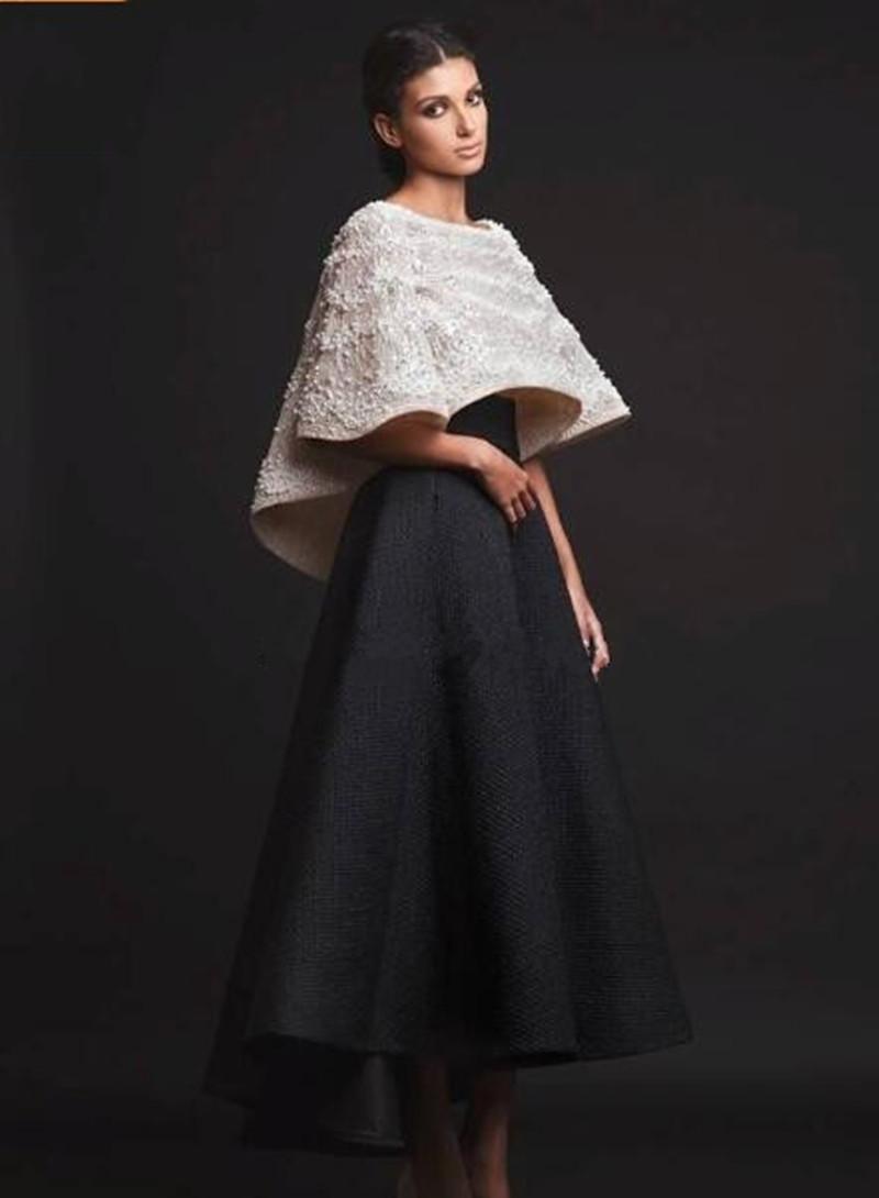 2019 New Black White Krikor Jabotian Abendkleider Zwei Stücke Knöchellangen Halbarm Prom Kleider Mit Jacke Abendkleider Real Image