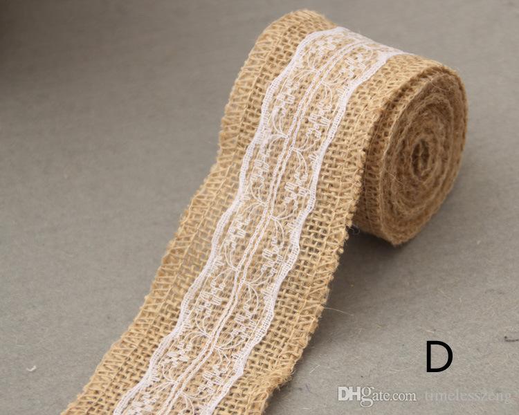Lino Table Banner Banner Lace Runner Runner tela Iuta Runner Gift Packing Ribbon Roll stile rustico Decorazione di nozze