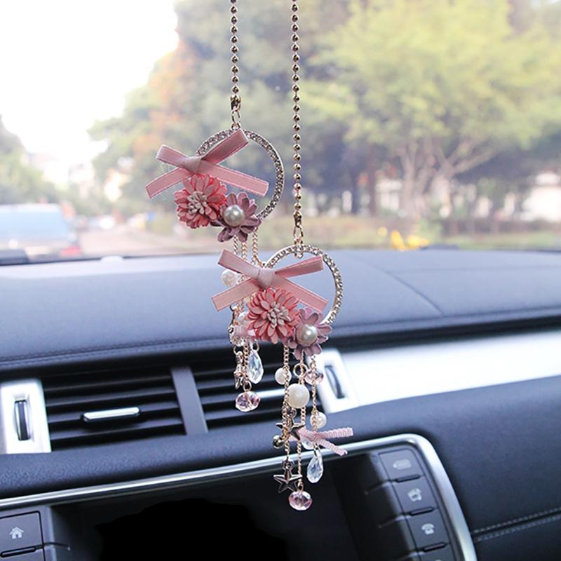 Bowknot Car Pendant Flower Decoration Hanging Ornaments Diamond Inspiration Car Decoration Accessories India