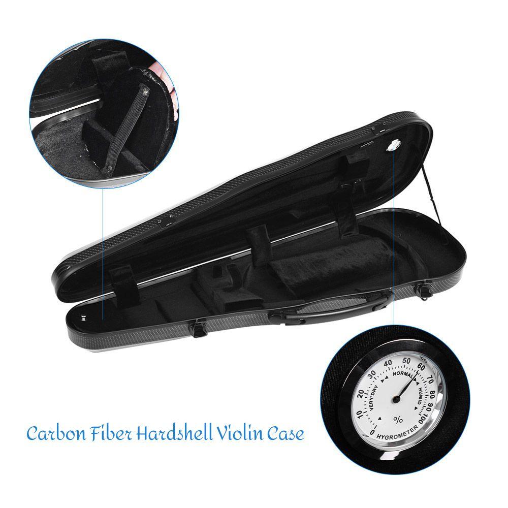 High-quality 4/4 Full Size Violin Case Carbon Fiber Hardshell Violin Case with Built-in Hygrometer for 4/4 Violins Fiddle free shipping