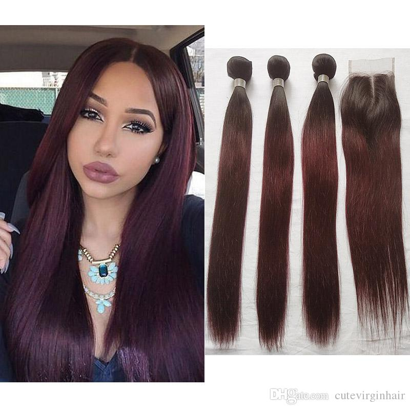 2018 Brazilian Ombre 1b99j Burgundy Straight Human Hair Weave 3