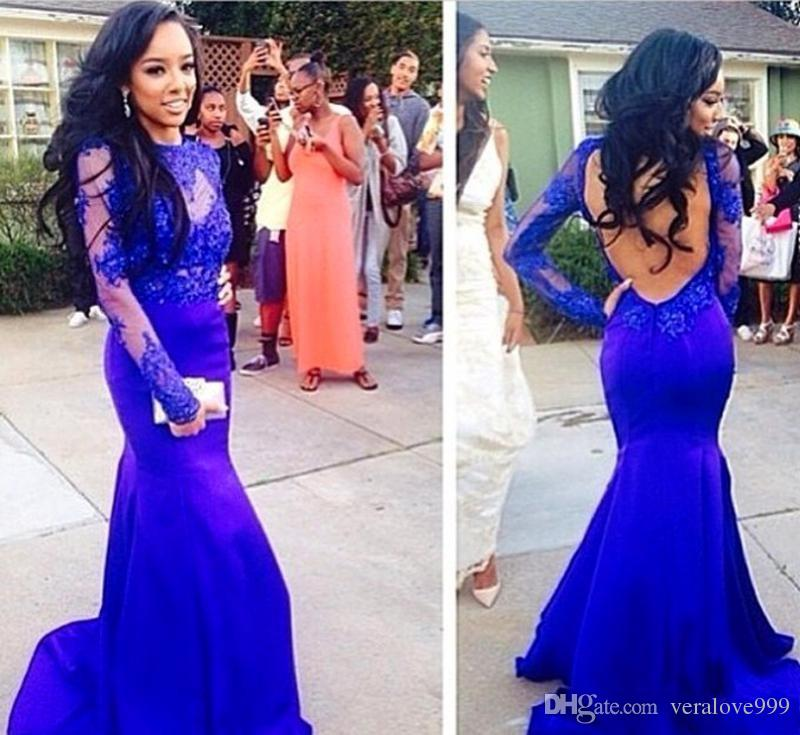 Sex Long Prom Dresses Royal Blue Jewel Neckline Evening Gown Long Sleeves Mermaid Party Gowns Sweep Train Sheer African Gowns Wear