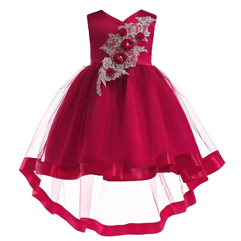 d4c6243b10d6 Baby Dress Girls Wedding Flower Girl Dress Embroidery Princess Pageant  Formal Sleeveless Tailing Party Dress Children Clothing Flowers Girls  Dresses Fuchsia ...