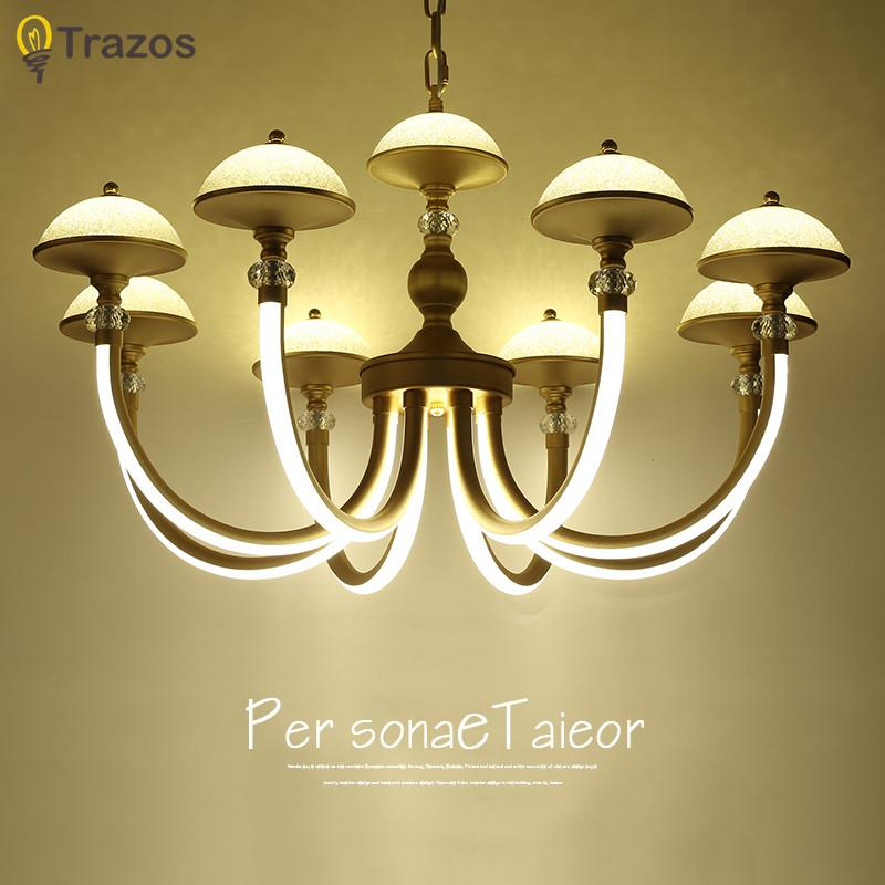 Art Deco Gold Crystal Chandelier Lighting Fixtures Creative Glass LED Chandeliers For Dining Room Lamparas De Techo Vintage Shade