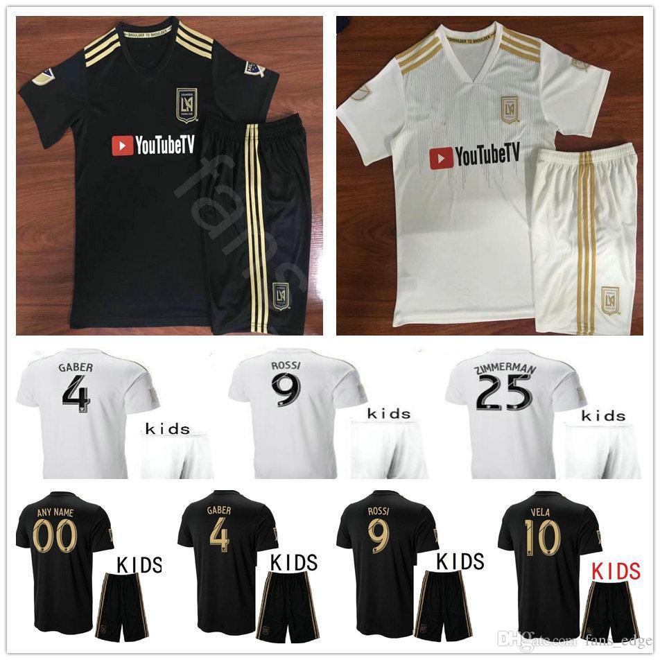 76ff595cc 2019 2018 Kids Los Angeles FC Soccer Jersey 4 GABER 9 ROSSI 10 VELA 25  ZIMMERMAN Black White Custom LAFC Youth Football Kit Shirt From Fans edge