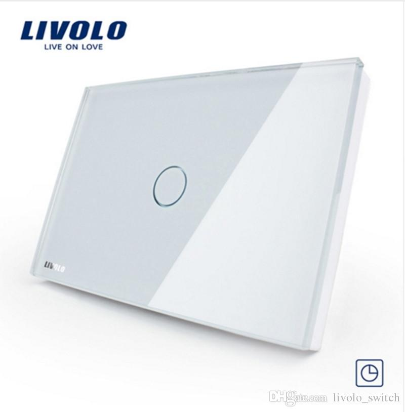 Livolo US&AU Standard 30S Timer Delay Switch, Touch Switch VL-C301T-81,White Crystal Glass Panel, Wall Light Control Switch