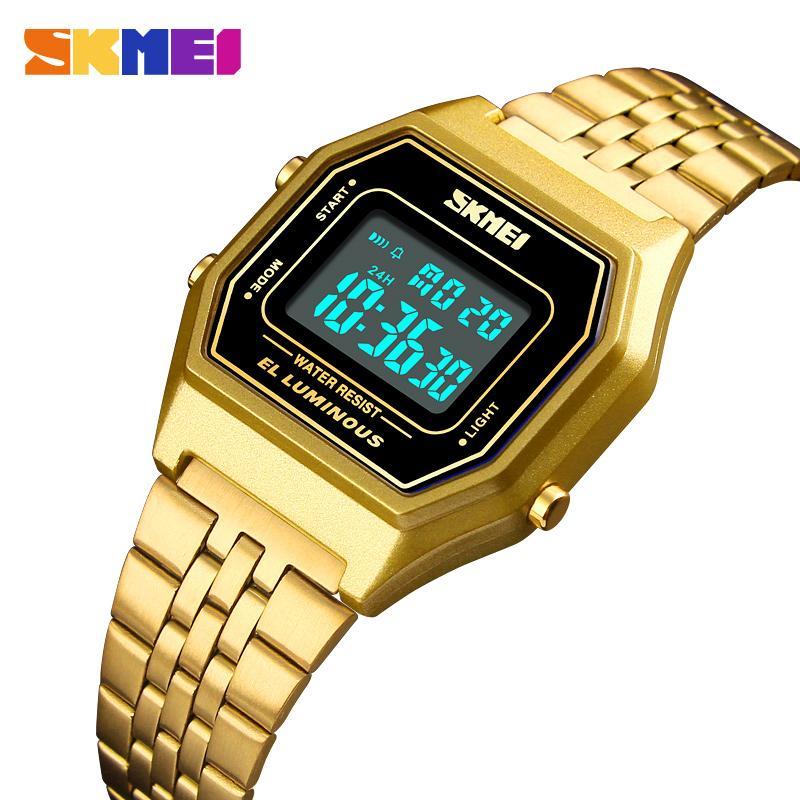 5522a1c2e16 Compre Homens Relógio Digital LED Relógios Desportivos Dos Homens Relogio  Masculino Relojes Aço Inoxidável À Prova D  Água Relógios De Pulso SKMEI  2018 De ...