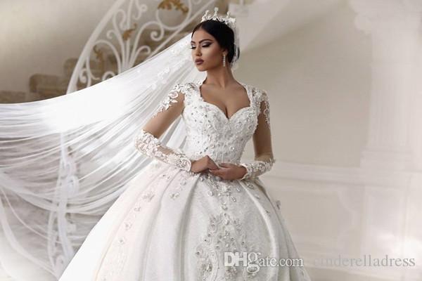 Glitz Arabisch Perlen Spitze Ballkleid Brautkleider 2018 Langarm Gericht Zug Plus Size Kathedrale Zug Brautkleider