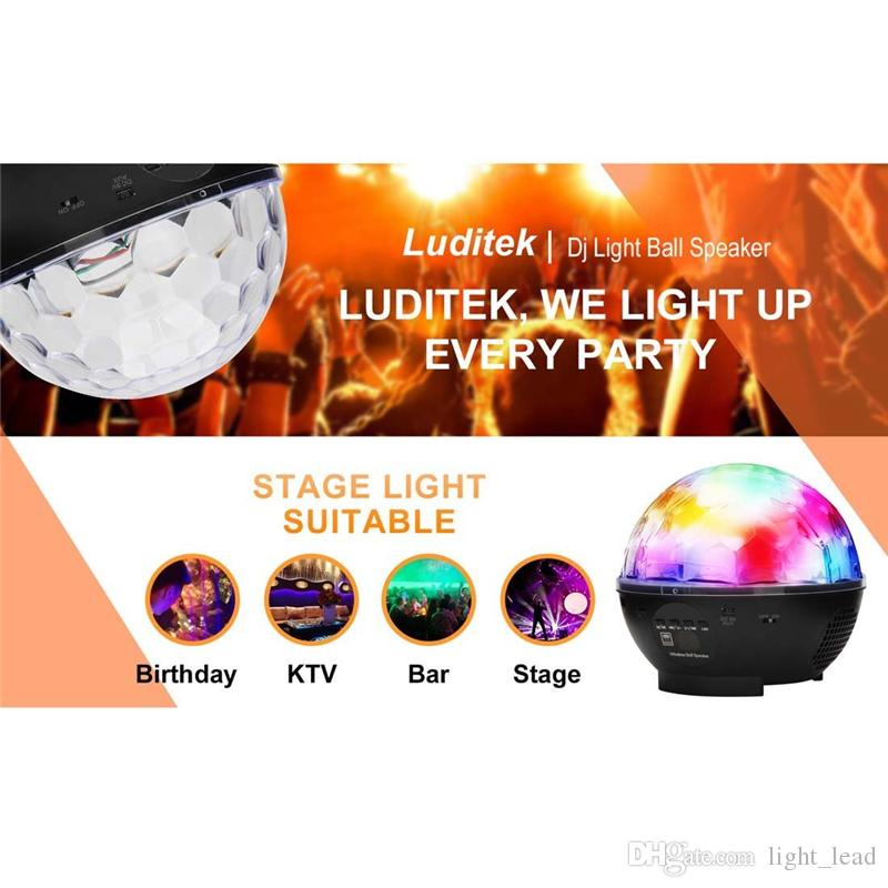 RGB LED Crystal Magic Ball Stage Effect Light 9W DJ KTV Club Disco Party Lighting Bluetooth Speaker With USB /TF/FM Radio/Remote