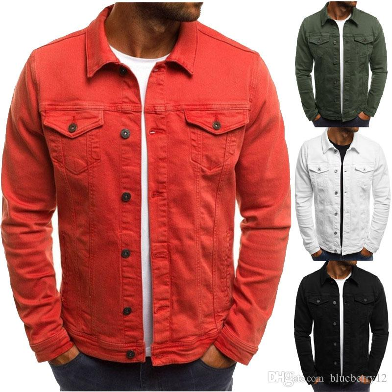 dfdcc5fd790f Solid Mens Jackets Turn Down Neck Jacket Slim Fit Casual Outfits With  Pockets Autumn Large Size Mens Clothes Light Winter Jackets Jacket Sale Mens  From ...