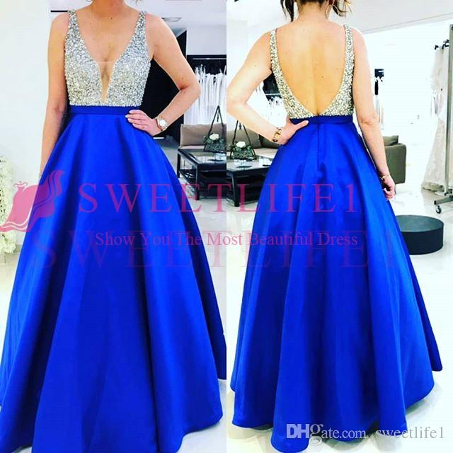 2019 Royal Blue Heavy Beaded Prom Dresses Sexy Backless V Neck Satin Floor Length A Line Special Occasion Dresses Formal Evening Gown Custom