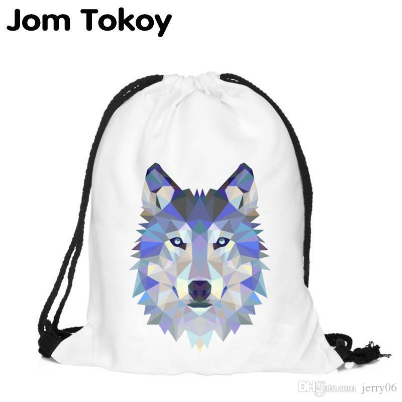 1bcd352bb899 Polygon wolf 3D Printing Fashion Women Party Bolsa Feminina Drawstring Bag  Travel Backpack Mochila Man's Bags