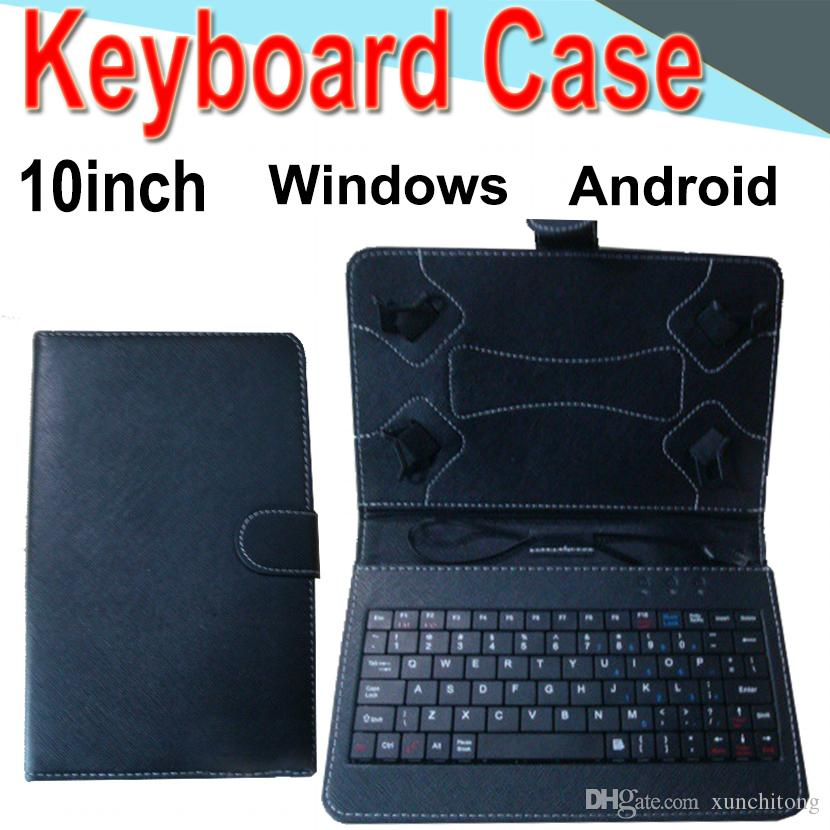 10inch Wire Keyboard Case Cover for Android Windows Ultra Thin Wireless ABS Keyboard PU Case Universal Mobile Phone EXPT-3 50 Packs