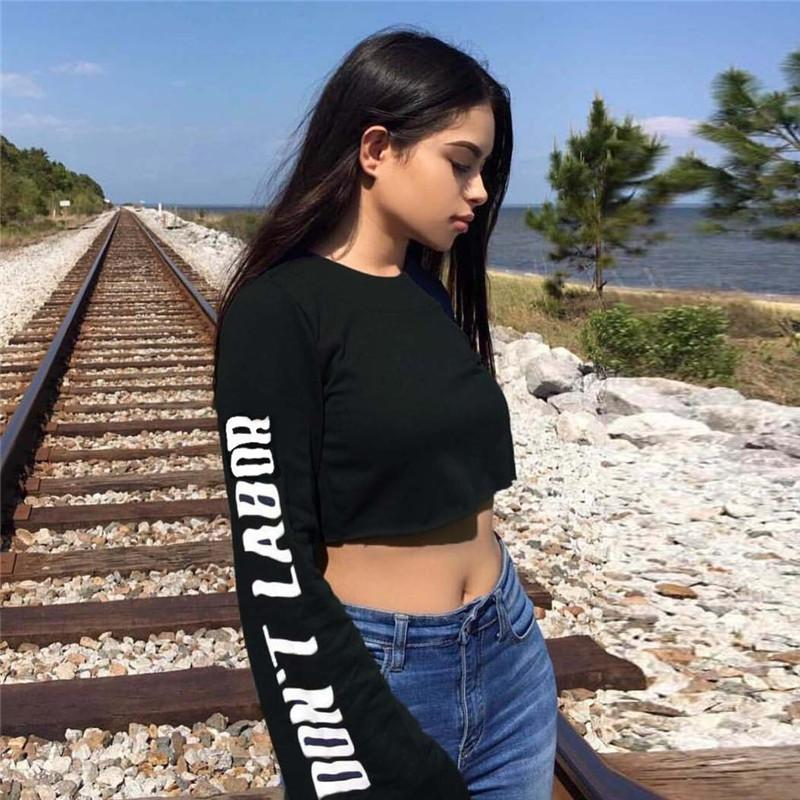 0e6b94622029 Fashion Crop Hoodies T Shirt Women Ladies Casual Loose Long Sleeve Backless T  Shirts Crop Tops Plus Size T Shirts Deals Super Cool T Shirts From  Fafachai02