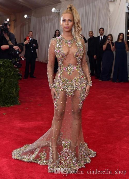 2018 Sparkly Beyonce Sirena Vestidos de noche Grandes cuentas Cristal Ilusión Blusa Formal largo Baile de graduación Vestidos de alfombra roja personalizados