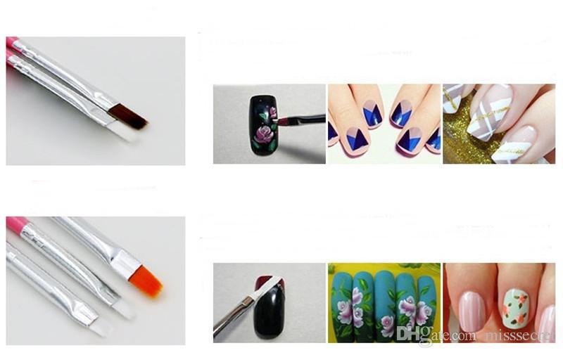 15 adet / takım Profesyonel UV Jel Tırnak Sanat Fırçalar Seti Tırnak Tasarım Lehçe Boyama Çizim Kalem Manikür Tırnak Araçları