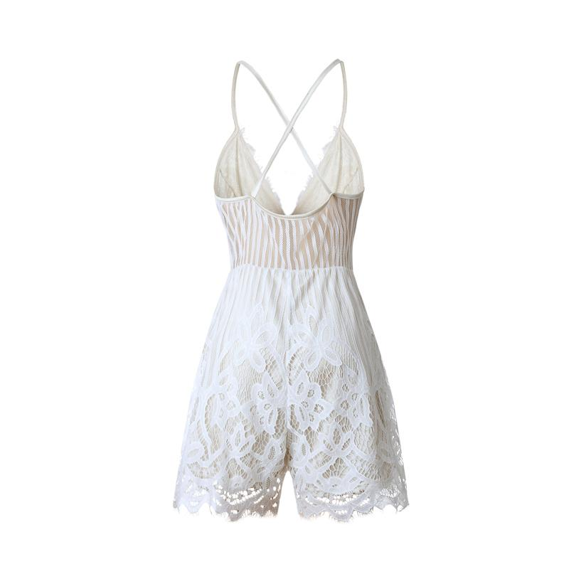 Wuhaobo 2018 Summer Lace Camisole V Neck Playsuit Sexy Shorts Rompers Women Bodysuit Beach White Overall Mini Jumpsuits