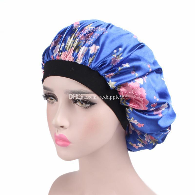 Ucuz yeni moda lüks Geniş Bant Saten Bonnet Cap rahat gece uyku şapka saç dökülmesi kap kadınlar şapka kap turbante