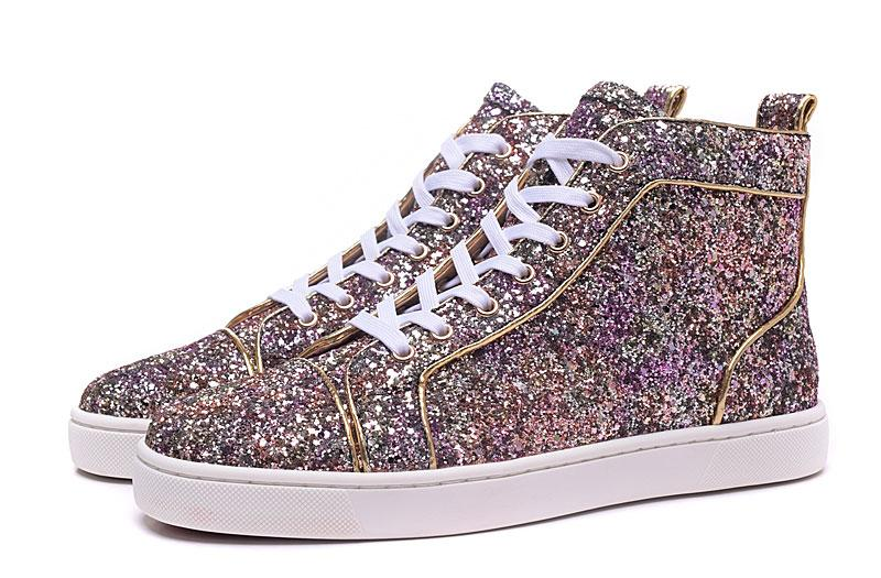 2016 New Fashion High Top Multicolored Glitter Red Bottom Shoes For Men Women  Top Qulity Pink Purple Genuine Leather Dress Shoes Suede Shoes Shoe Sale  From ... ad631b4c61