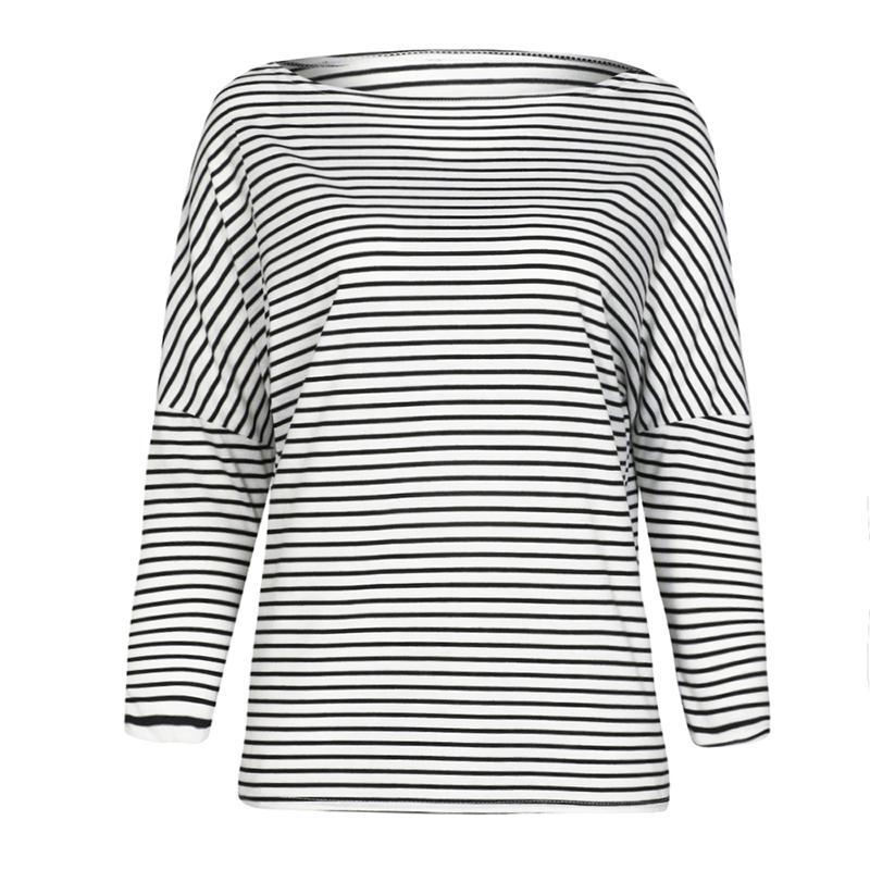 deaa8faf5890f6 Großhandel 2018 Herbst Beiläufiges T Shirt Frauen Gestreiftes T Shirt  Flügel Hülsen Tropfen Schulter Langes Hülsen T Shirt Lose Pullover ...