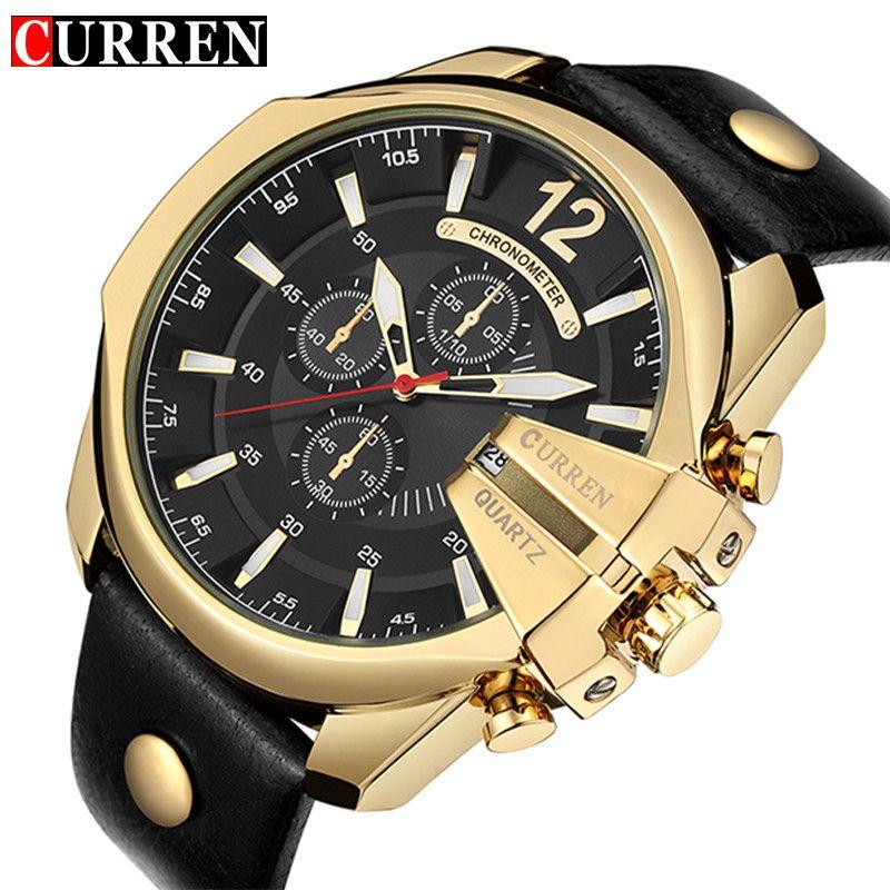 2719f972406 Compre CURREN Relógio De Quartzo Dos Homens Esportes Dos Homens Top Marca  De Luxo Designer De Relógio Homem De Quartzo Relógio De Ouro Moda Masculina  ...