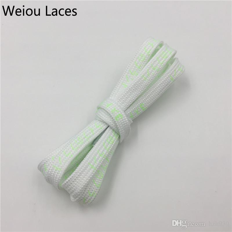 Weiou Shiny Cool Flat Luminous Printed Japanese Letters Shoelaces Innovate Shoe Laces Glow in the Dark for Women Men Kids Shoe Decoration