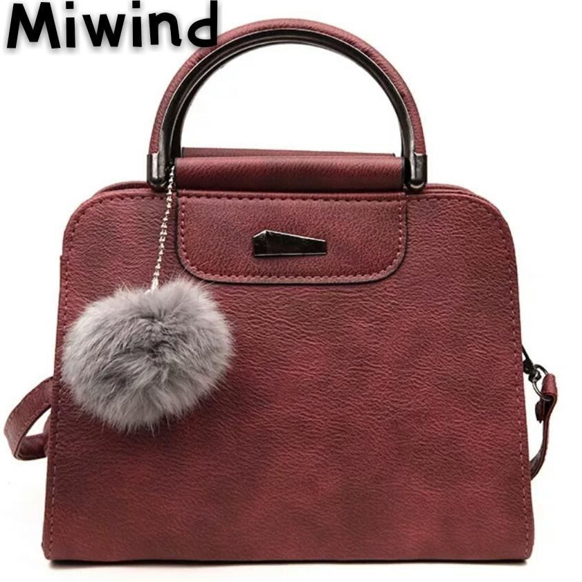 a0e9d247490 MIWIND Fashion PU Leather Tassel Ball Luxury Women Shoulder Bags Girls  Fashion Top Handle Crossbody Beading Messenger Bag Leather Tote Bags Clutch  Purse ...