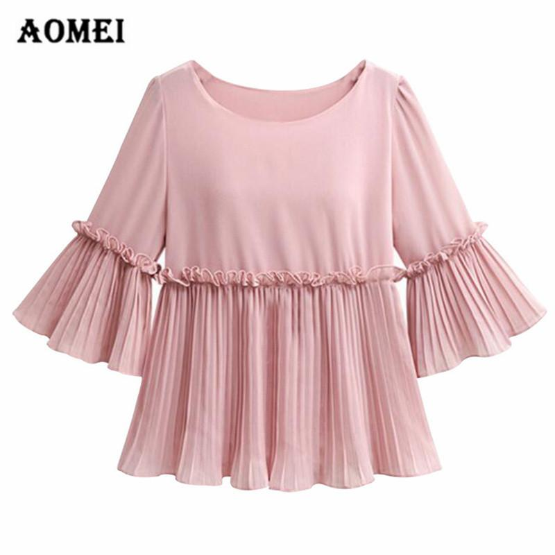 Blouses & Shirts 2019 New Spring And Autumn Womens Round-collar Knitted Spliced Gauze Blouse Female Elegant Flare Sleeve Shirts